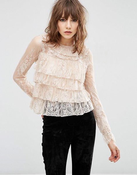 Asos Top With Ruffle Collar in pink - Top by ASOS Collection, Woven lace, Semi-sheer finish,...