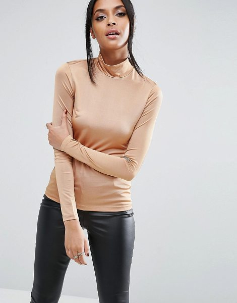 Asos Top with Turtleneck In Slinky in brown - Top by ASOS Collection, Stretch slinky fabric, High...
