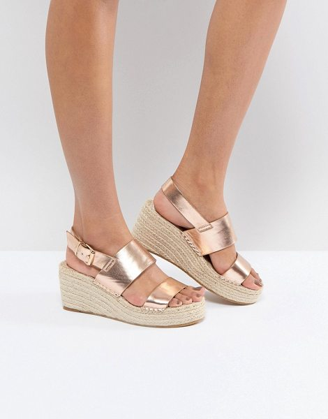 ASOS DESIGN ASOS TOTO Espadrille Wedges in rosegold - Wedges by ASOS Collection, Metallic finish, It's...