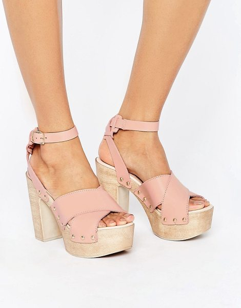 "Asos TOUCHED Leather Heeled Sandals in beige - """"Heels by ASOS Collection, Leather upper, Ankle-strap..."