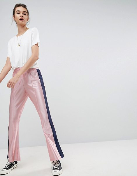 ASOS DESIGN kick flare trackpants with split hem and side stripe in pink - Pants by ASOS Collection, It s time to shine, Drawstring...