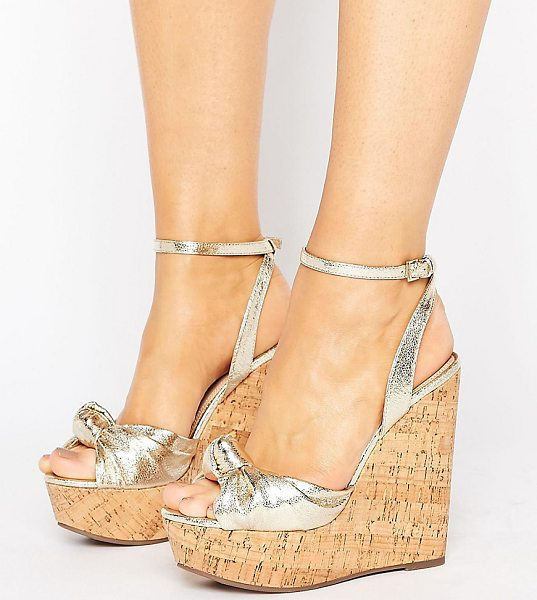 Asos TRAFFIC JAM Wide Fit Wedges in gold - Wedges by ASOS Collection, Metallic faux-leather upper,...