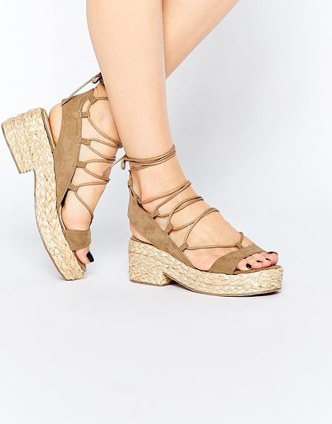 Asos Treat lace up sandals in beige - Sandals by ASOS Collection Suede-look upper Lace-up...