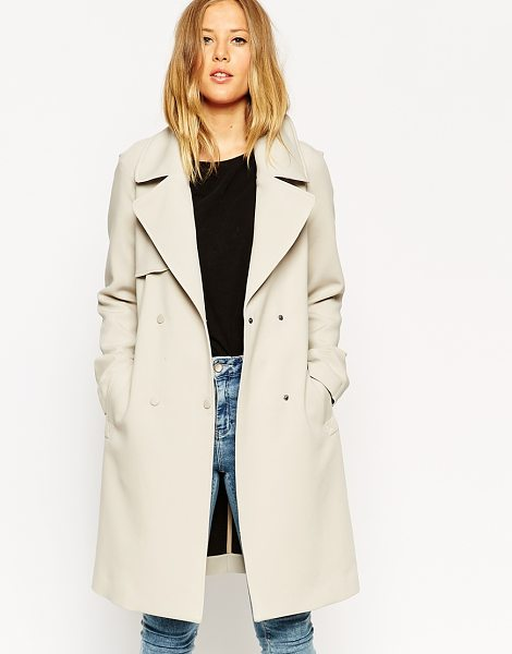 Asos Trench in bonded cloth in cream - Trench by ASOS Collection, Bonded structured fabric,...