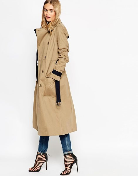 ASOS Trench in midi length with contrast detail - Trench by ASOS Collection Pure woven cotton Contrast...