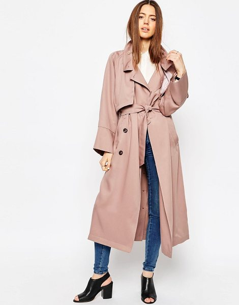Asos Trench in Waterfall Drape with Roll Back Sleeve in pink - Trench by ASOS Collection, Soft-touch woven fabric,...
