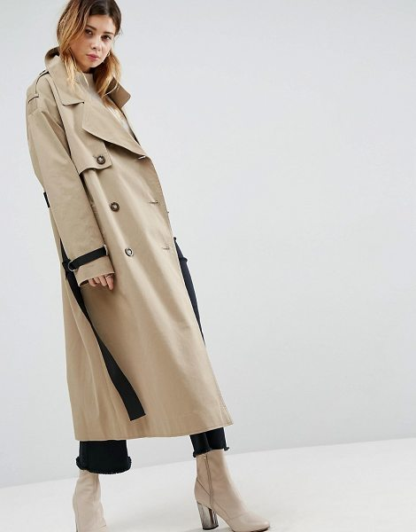 Asos Trench with Contrast Belt in stone - Coat by ASOS Collection, Smooth woven fabric, Notch...