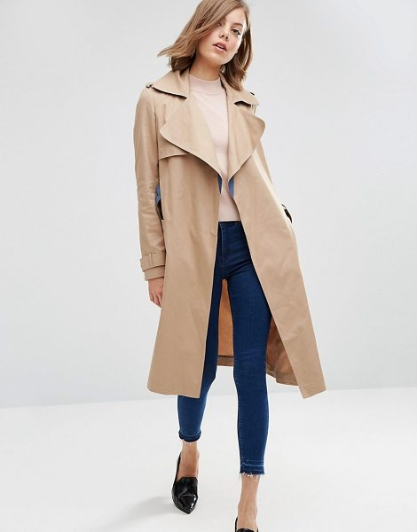 Asos Trench with Contrast Chambray Detail in stone - Trench by ASOS Collection, Mid-weight soft-touch twill,...