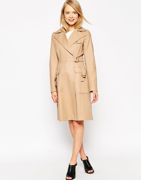 Asos Trench with top stitch detail in stone - Trench by ASOS Collection Mid-weight canvas Satin lining...
