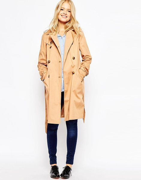 Asos Trench with Topstitch Detailing in stone - Trench by ASOS Collection, Lined woven fabric, Shoulder...