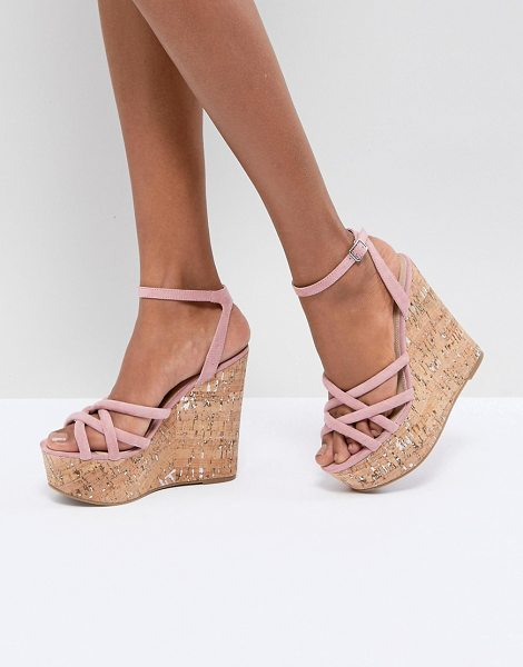 ASOS DESIGN tulita high wedges in dustypink - Wedges by ASOS Collection, Ankle-strap fastening, Cross...