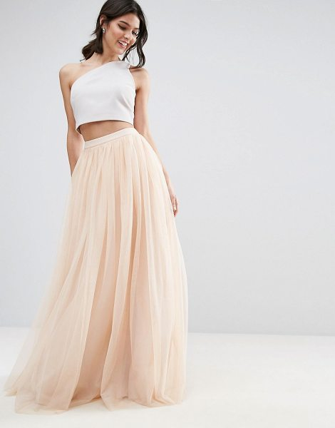 "Asos asos tulle maxi prom skirt in nude - """"Maxi skirt by ASOS Collection, Layered tulle, Fitted..."