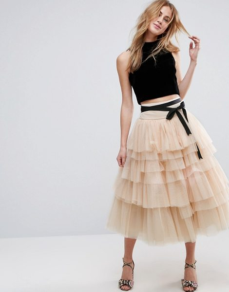 Asos Tulle Midi Prom Skirt With Tiers And Tie Waist In Pink