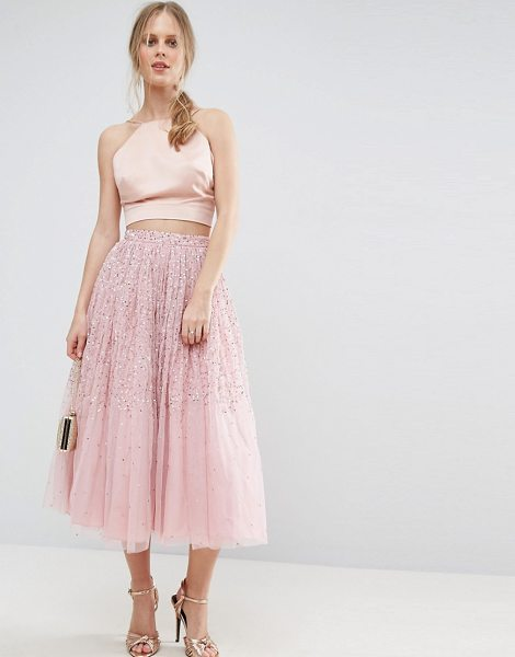 "Asos Tulle Prom Skirt with Embellishment in pink - """"Midi skirt by ASOS Collection, Lined tulle, High-rise..."