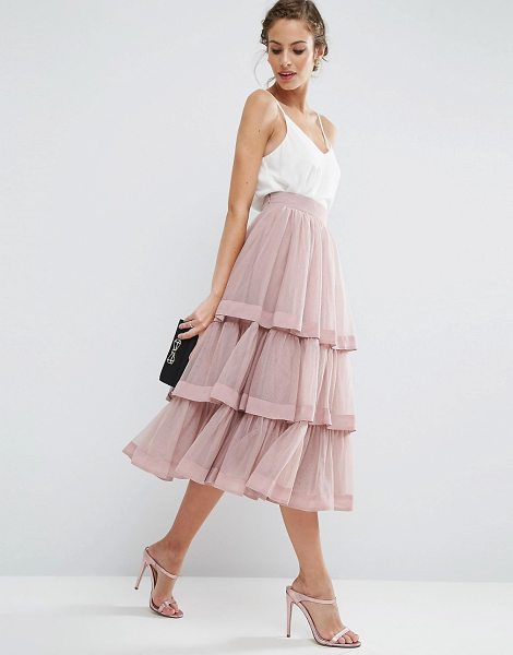 Asos Tulle Prom Skirt with Multi Layer and Trim in pink - Skirt by ASOS Collection, Layered tulle, Fully lined,...