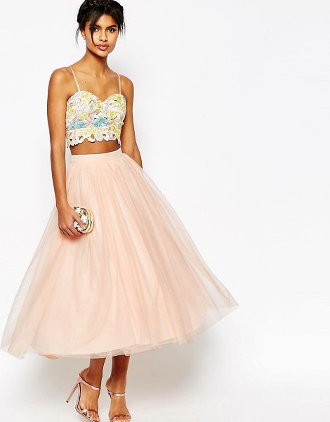 Asos Tulle Prom Skirt with Multi Layers in beige
