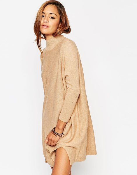 Asos Tunic dress in knit with high neck in cashmere mix in camel - Knit dress by ASOS Collection Soft-touch knit High...