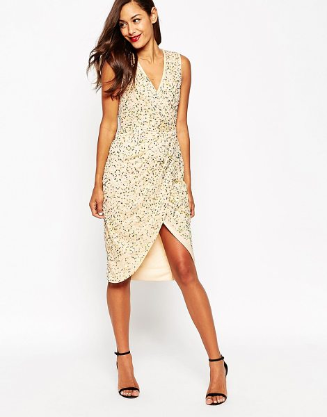 Asos Twist Front Mesh Sequin Midi Dress in gold - Dress by ASOS Collection, Sequin mesh fabric, Fully...
