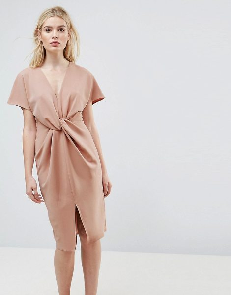 ASOS DESIGN ASOS Twist Knot Textured Kimono Midi Dress in blush - Dress by ASOS Collection, Stretchy woven fabric,...