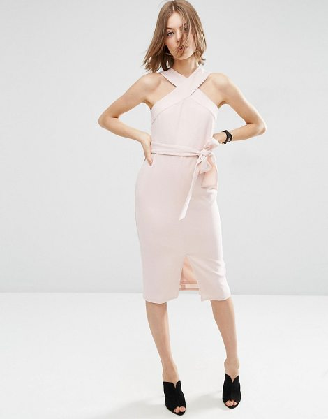 Asos Twist Neck Pencil Dress With Tie Front in pink - Dress by ASOS Collection, Lined crepe, Cross-over halter...