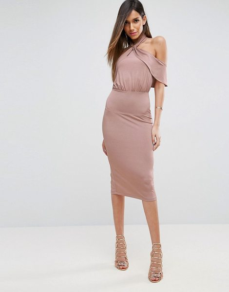 "ASOS DESIGN asos twist neck ruffle top soft pencil dress in nude - """"Pencil dress by ASOS Collection, Smooth stretch..."