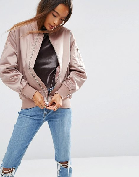 Asos Ultimate Bomber Jacket in pink - Bomber jacket by ASOS Collection, Satin-style fabric,...