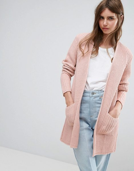 Asos Ultimate Chunky Cardigan in pink - Cardigan by ASOS Collection, Chunky ribbed knit, Open...