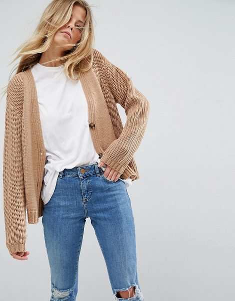 """Asos Ultimate Chunky Knit Cardigan With Button in stone - """"""""Cardigan by ASOS Collection, Chunky knit, Button..."""