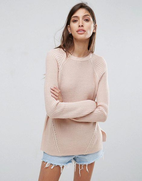Asos Ultimate Chunky Sweater With Crew Neck in pink - Cardigan by ASOS Collection, Chunky ribbed knit, Crew...