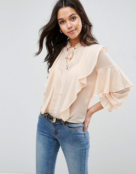 "Asos Ultimate Ruffle Blouse With Tie Neck in pink - """"Blouse by ASOS Collection, Semi-sheer woven fabric,..."