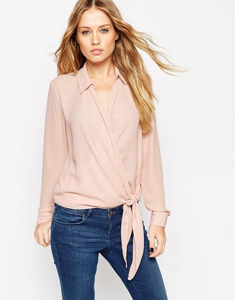 Asos Ultimate wrap front blouse in blush - Blouse by ASOS Collection Semi-sheer chiffon Point...