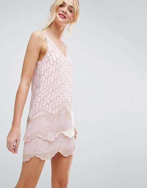 ASOS Ultra Mini Embellished Double Hem Mini Dress in pink - Dress by ASOS Collection, Woven embellished fabric,...