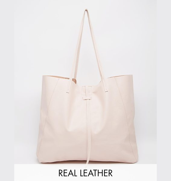Asos Unlined leather shopper bag with tie detail in nude - Cart by ASOS Collection Smooth leather Twin shoulder...