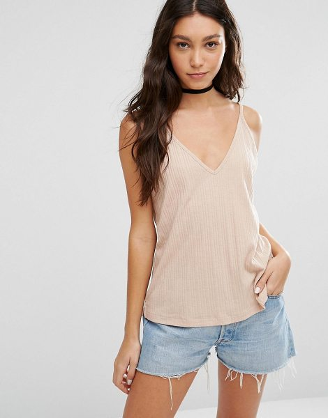 ASOS V Front and Back Cami Top - Top by ASOS Collection, Ribbed jersey, V-neckline, Cami...