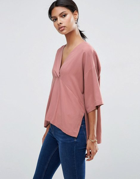 Asos V Neck Kimono Top in Soft Twill in pink - Top by ASOS Collection, Soft-touch twill, V-neckline,...