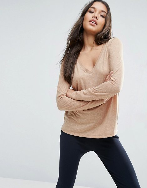 Asos V-Neck Long Sleeve T-Shirt In Linen Mix Fabric in brown - T-shirt by ASOS Collection, We partner with the Better...