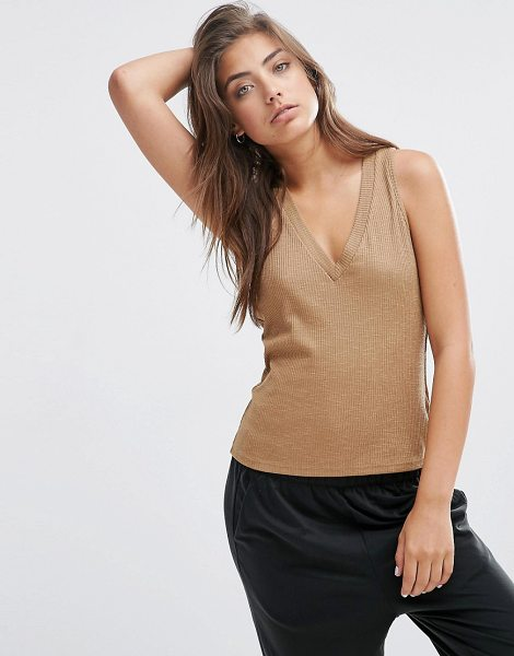 Asos V Neck Slubby Rib Tank in brown - Tank by ASOS Collection, Ribbed jersey, V- neckline,...