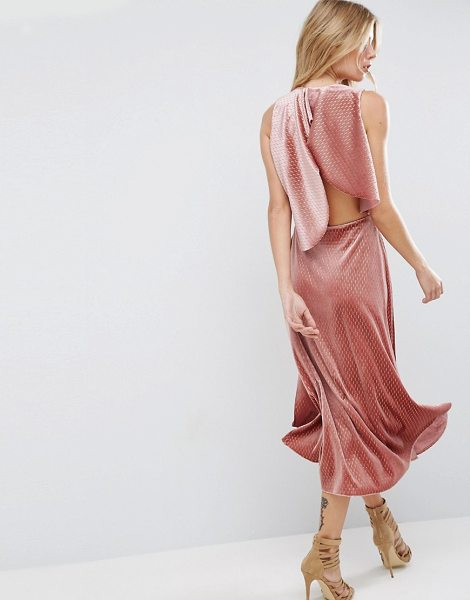 "ASOS Velvet Metallic Drape Open Back Midi Dress - """"Midi dress by ASOS Collection, Textured velvet, Plunge..."