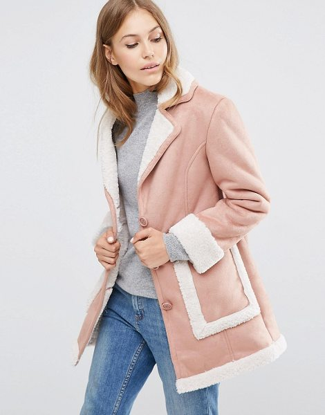 Asos Vintage Style Faux Shearling Coat in pink - Coat by ASOS Collection, Suede-look fabric,...