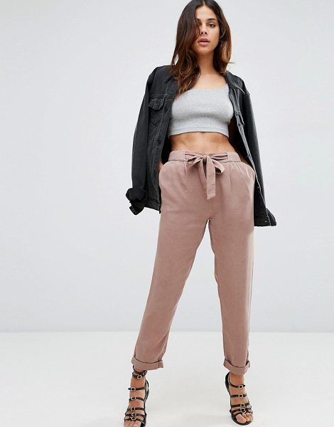 Asos Washed Woven Peg Pants with Tie in pink