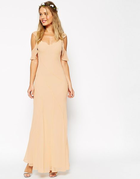 Asos WEDDING Bias Cut Maxi Dress With Seams And Frill Sleeves in cream - Maxi dress by ASOS Collection, Lightweight, lined...