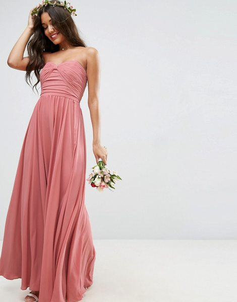 "ASOS DESIGN bridesmaid bow front bandeau maxi dress in nude - """"Maxi dress by ASOS Collection, Smooth woven fabric,..."