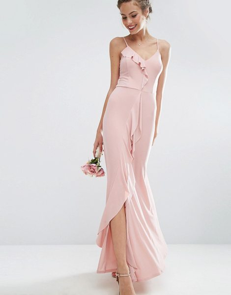 """Asos DESIGN Bridesmaid cami frill maxi dress in pink - """"""""Maxi dress by ASOS Collection, Smooth stretch fabric,..."""