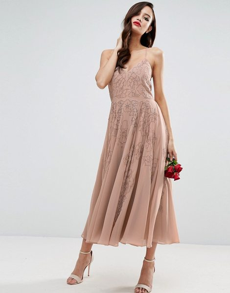 ASOS DESIGN bridesmaid cami strap embellished maxi dress in nude - Maxi dress by ASOS Collection, Heavyweight chiffon,...