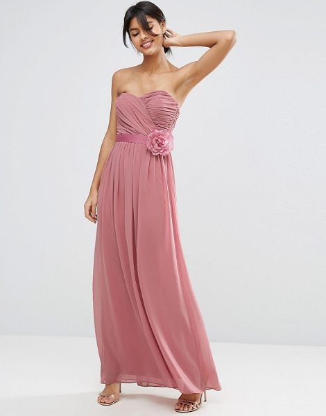 "ASOS DESIGN Bridesmaid chiffon bandeau maxi dress with detachable corsage - """"Maxi dress by ASOS Collection, Lined chiffon,..."