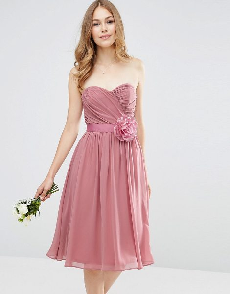 Asos DESIGN Bridesmaid chiffon bandeau midi dress with detachable corsage in pink