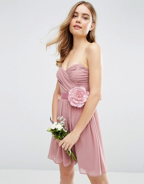 """ASOS DESIGN bridesmaid chiffon bandeau mini dress with detachable corsage in rosepink - """"""""Dress by ASOS Collection, Lined chiffon fabric,..."""