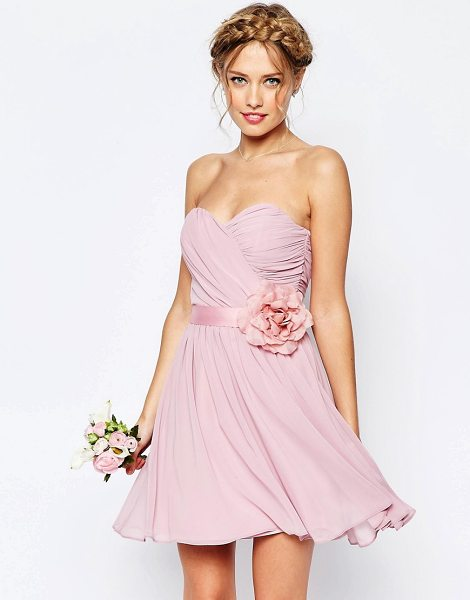 ASOS WEDDING Chiffon Mini Bandeau Dress With Detachable Corsage Belt in pink - Mini skirt by ASOS Collection, Layered chiffon,...