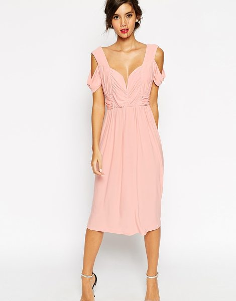 Asos WEDDING Cold Shoulder Ruched Midi Dress in pink - Midi dress by ASOS Collection, Mid-weight, stretch...