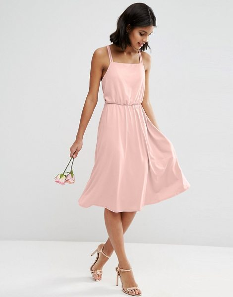 "ASOS DESIGN Bridesmaid crepe cross back midi dress in pink - """"Dress by ASOS Collection, Stretch crepe, Square-cut..."